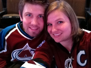 We go old school in my Sakic jersey and his Blake jersey :) One of the ways I knew he was a keeper? He bought me a legit Joe Sakic jersey for our first Valentine's Day. We'd been together a month!