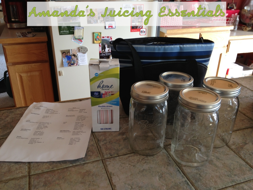 From Left to Right: Recipe plan, bendy straws, insulated lunch bag & mason jars