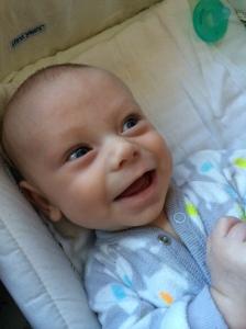 Daddy saying goodbye before work makes Jonathan smile so big!